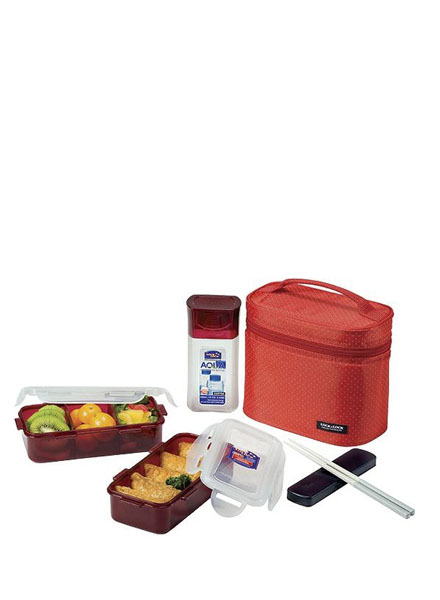 Lock & Lock - HPL758DR - Lunch Box Set (3P) with Spoon & Fork (Red)
