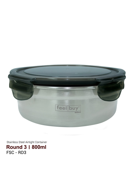 Feelbuy Stainless Steel Food Container Round 800ml