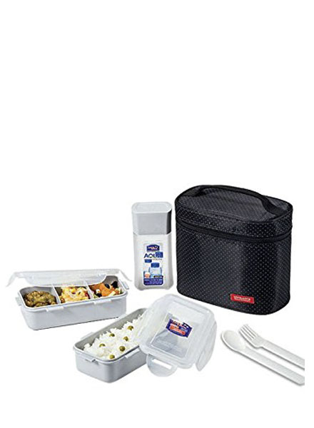 Lock & Lock - HPL758DB - Lunch Box Set(3P) with Spoon&Fork (Black)