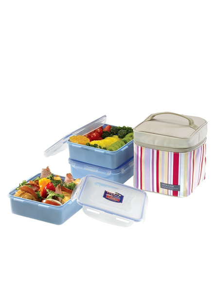 HPL823RP - Lunch Box 3PSet w/Pink Lunch Bag 823(2P)