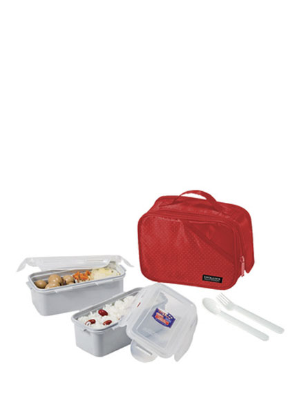 Lock & Lock - HPL762DR - Lunch Box Set (2P) with Spoon & Fork (Red)