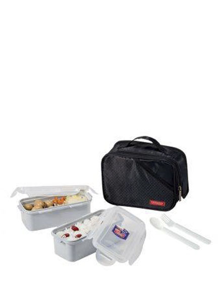 Lock & Lock - HPL762DB - Lunch Box Set (2P) with Spoon & Fork (Black)