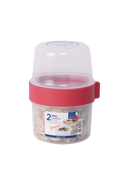 Lock & Lock - LLS221 - Two Way Container 360 ml + 310 ml (Red)