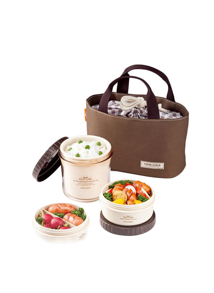 HPL745B - Round Lunch Box Set 3P W/Brown Bag