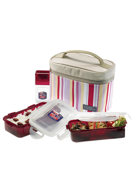 HPL754RP - Lunch Box Set(3P) W/Pink Bag W/Spoon&Fork