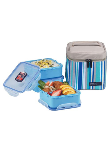 HPL823RB - Lunch Box 3PSet w/Blue Lunch Bag 823(2P