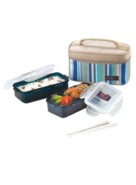 HPL752SB - Lunch Box SET(2P) W/Blue Lunch Bag