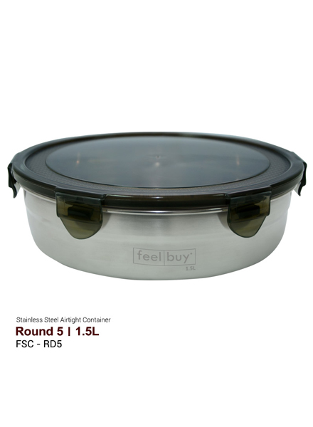 Feelbuy Stainless Steel Food Container Round 1.5L