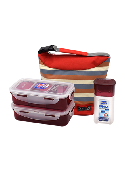 Lock & Lock - HPL758S3SR - Lunch Box Set ( 3p) - Stripe Pattern Bag (Red)