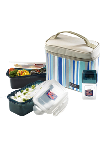 HPL762RB - Lunch Box Set(3P) W/Blue Bag W/Spoon&Fork