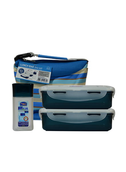 Lock & Lock - HPL758S3SB - Lunch box Set (3P) Stripe Pattern Bag (Blue)