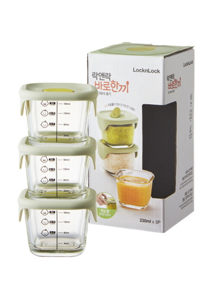 Lock & Lock - LLG509S3 - Baby Food Container 3P 230ML (Mint)