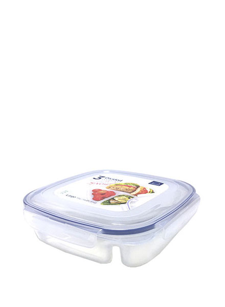 HPL970 - Square Short Food PP Container 1.5L W/ Divider (Renewal)