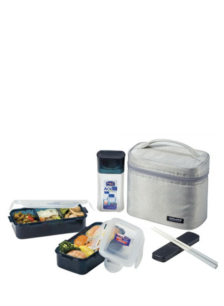 Lock & Lock - HPL758DG - Lunch Box Set(3P) with Spoon&Fork (Gray)