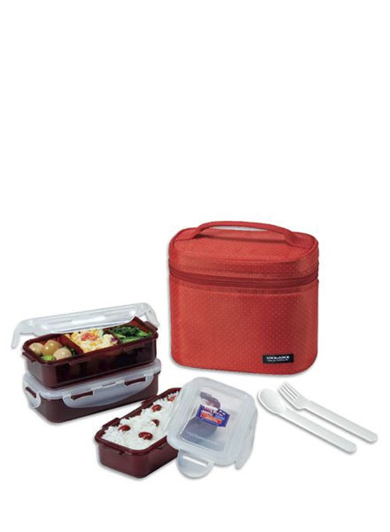 HPL754DR - Lunch Box Set(3P) W/Red Bag W/Spoon&Fork