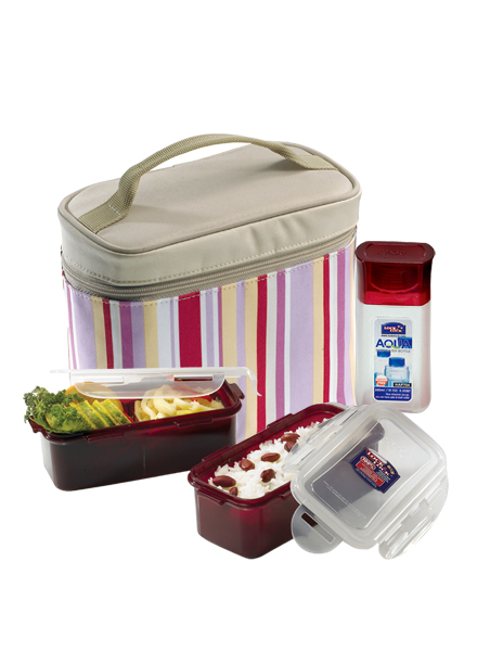 Lock & Lock - HPL762RP - Lunch Box Set (3P) with Spoon&Fork (Pink)